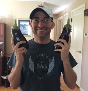 First eggplant harvest